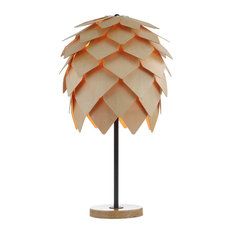 "Simon 20.5"" Pinecone Wood, Metal LED Table Lamp, Wood, Black"