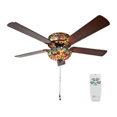 """52"""" Tiffany Style Stained Glass Halston Ceiling Fan, Spice"""
