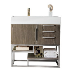 """Columbia 36"""" Single Vanity, Ash Gray/Brushed Nickel, Without Top"""