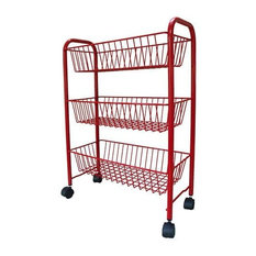 Delfinware Wireware 3-Tier Mobile Rack, Red