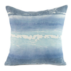 "Canyon Ocean Hand-Printed Linen Pillow, 20""x20"", Case Only: No Insert"