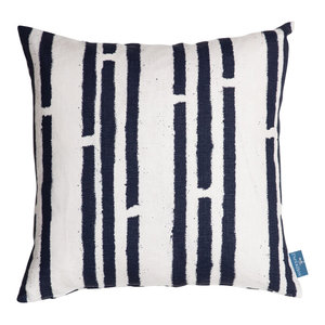 """PaperBoy Interiors """"Stripes"""" Cushion, White and Blue"""