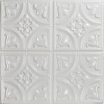 """Decorative Ceiling Tiles - Tiny Tulips, Faux Tin Ceiling Tile, Glue up, 24""""x24"""", #148, White Pearl - PVC, 24x24, Pattern size: 12"""", Tin Look & No Metal Echo!, Easy Glue Up Installation, Cuts With Scissors, Affordable, Will Not Rust, Light Weight"""