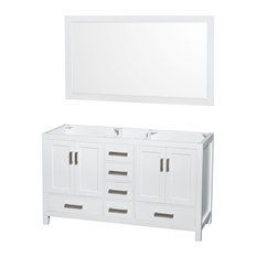 "Sheffield 60"" Double Vanity, 58"" Mirror, White, No Countertop, No Sink"