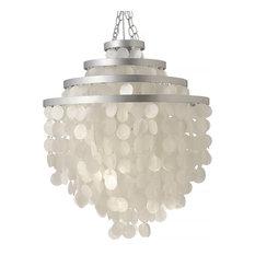 Round Chandelier With Capiz Shells, White