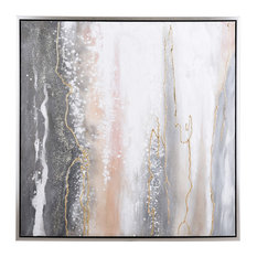 """Hand Painted Canvas Art With Silver Frame, 40""""x40"""""""