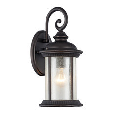 """FEISS, Transitional 1 Light Rubbed Bronze Outdoor Wall Sconce, 15"""" Height"""