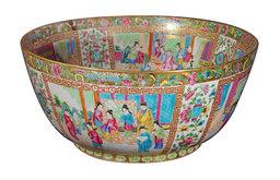 A Massive Rose Canton Porcelain Punch Bowl