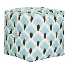 "Safavieh 18"" Pierre Pouf, Light Blue, Black and White"
