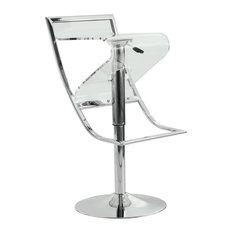 Leisuremod Napoli Adjustable Acrlyic Chrome Bar Counter Stool, Clear