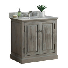 "36"" Solid Wood Sink Vanity With Arctic Pearl Quartz Top, Arctic Pearl Quartz Top"