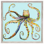 """GreenBox Art + Culture - """"Bright Octopus"""" Mini Framed Canvas by Eli Halpin - Gliding through a lovely blue sea, Eli Halpin's multi-color octopus is the perfect piece for beach lovers. Finished in our rustic white frame, it sits easily on a shelf or wall. Collect more of Eli's marine life minis and build a coastal collection."""