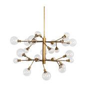 "59"" Pierino Tier Chandelier Matte Brass Chandlier Iron Glass Clear Modern"