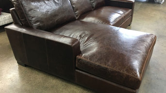 Custom Length Braxton Sofa Chaise Sectional in Italian Brompton Cocoa Leather