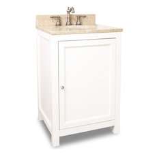 Freestanding Wood Vanity With Light Marble Top, White, 36""