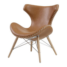 Maysun Accent Chair Wooden Legs, Antique Caramel