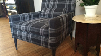 SOLD MCM Newly Upholsted Arm Chair in Ralph Lauren Wool Blend Plaid Fabric