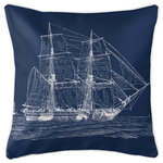 Island Girl Home, Inc. - Vintage Ship Pillow, White on Navy - Size: 20x20. Material: 100% Polyester, pre-shrunk. Details: Double-sided print with piping and invisible zipper. Insert: Polyfill. Care: Spot clean or machine wash with mild detergent on delicate cycle, air dry. Do not tumble dry. Do not dry clean. Made in the USA. Island Girl Home, Inc.