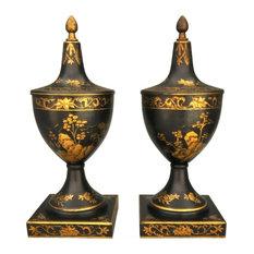 Tole Decorative Urns, Set of 2