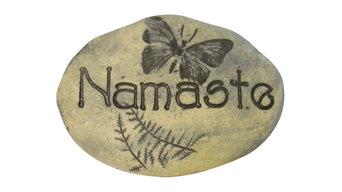 Boho decor, Namaste Stone, Outdoor Deco, Yoga-Inspired Home Decor, Butterfly Art