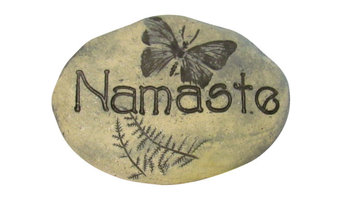 Namaste Stone, Outdoor Art, Natural Yoga-Inspired Home Decor, Butterfly Art