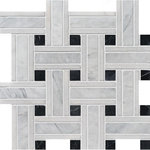 "MARBLE SYSTEMS - 12""x12"" Avenza Honed Lattice Modern Mosaic - *Beautiful Gray Marble Mosaics."