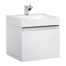 "Aquamoon Venice 31 1/4"" Infnity Sink Modern Bathroom Vanity Set, White"