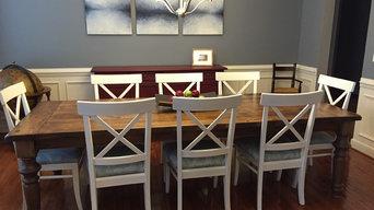 Reclaimed wood table with custom turned legs