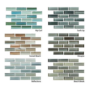 Hand Painted Glass Mosaic Subway Tiles Sample Combo Pack
