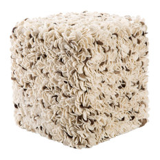 Jaipur Living Tyra White Gray Textured Square Pouf Floor Pillows And