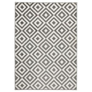 Elegant Grey White Rectangular Rug, 120x170 cm