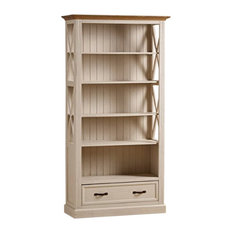 Seychelles Painted and Brushed Solid Oak 5-Shelf 2-Drawer Tall Bookcase Unit