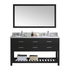 60-inch Double Bath Vanity In Espresso With Marble Top And Round Sink With Mirror