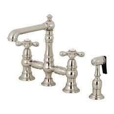 "Kingston Brass KS7278AXBS English Country 8"" Bridge Kitchen Faucet With Sprayer"