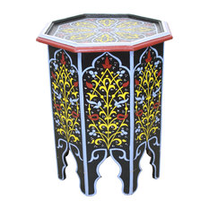 Badia Design Inc.   Moroccan Hand Painted Wooden Side Table, Black   Side
