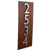 "20""x8"" Address Plaque, Rust, Vertical"