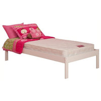 Leo & Lacey Platform Bed with Open Foot Rail in White - Twin