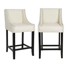 Quilted PU Leather Upholstered 39-inch Bar Stool Chair Accent Nail Trim  Set Of 2