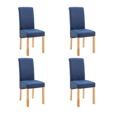 VidaXL 4x Dining Chairs Blue Fabric Home Office Kitchen Seating Furniture