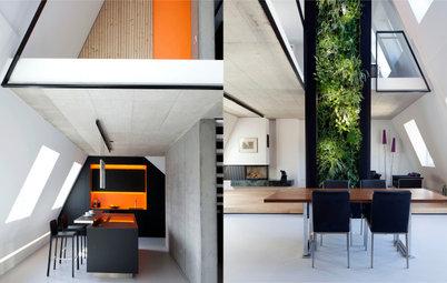 Dachausbau: Moderne, vertikale Farbspiele im Denkmalschutz