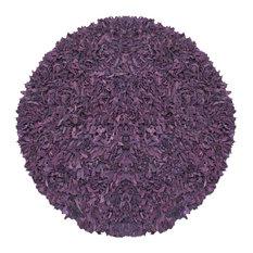 Purple Pelle Leather Shag Rug, 6' Round
