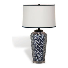 Geo Modern Blue White Patterned Hand Painted Porcelain Lamp   Table Lamps