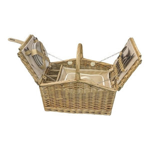 Butterfly Lidded 4-Person Fitted Farmhouse Picnic Basket