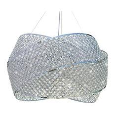 "30"" Crystal Drum Suspension Chandelier Pendant Light"