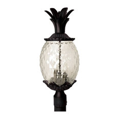 "22"" Tall Black Pineapple Outdoor Post Mount-Light"