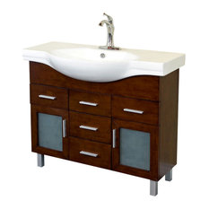 40-inch Single Sink Vanity Solid Wood Walnut Finish White Ceramic Counter Top
