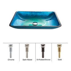 Irruption Blue Rectangle Glass Vessel Bathroom Sink, PU Drain, Chrome