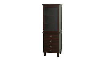Acclaim Bathroom Linen Tower in Espresso w/ Shelved Cabinet Storage & 4 Drawers