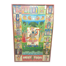 Mogulinterior - Consigned Pichhwai India Traditional Lord Krishna Nathdwara Colorful Wall Panel - Paintings