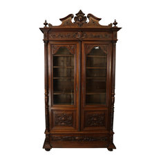 Consigned Bookcase Renaissance 1890 Antique French Carved Walnut Face Glass